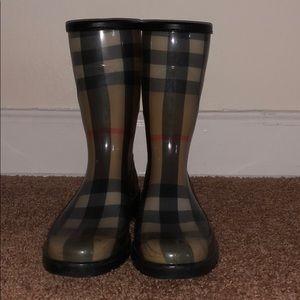 Gently worn Burberry rain boots